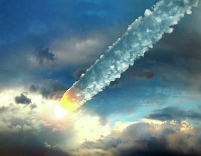 Meteor In The Earths Atmosphere, Artwork Art Print by Roger Harris