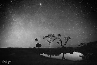 Meteor Shower In Black And White Art Print