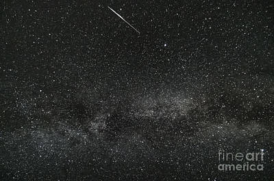 Meteor With The Milky Way Art Print by Patrick Fennell