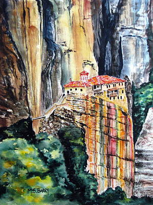 Painting - Meteora Greece by Maria Barry