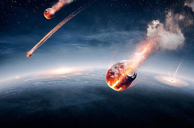 Flaming Digital Art - Meteorites On Their Way To Earth by Johan Swanepoel