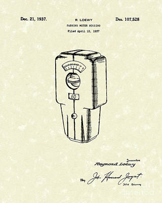 Drawing - Meter Housing 1937 Patent Art by Prior Art Design