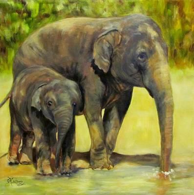 Thirsty, Methai And Baylor, Elephants  Art Print
