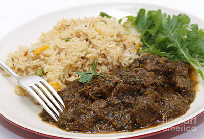 Photograph - Methi Lamb Meal Closeup by Paul Cowan