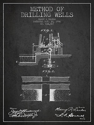 Oil Wells Drawing - Method Of Drilling Wells Patent From 1906 - Dark by Aged Pixel