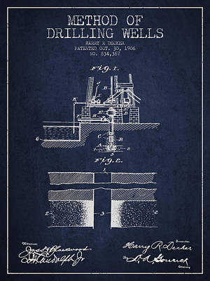 Oil Wells Drawing - Method Of Drilling Wells Patent From 1906 - Navy Blue by Aged Pixel