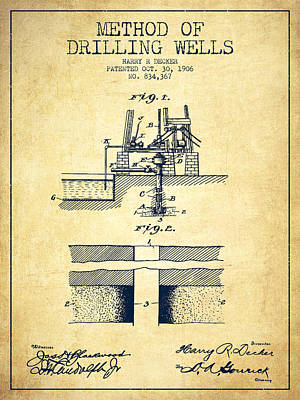 Method Of Drilling Wells Patent From 1906 - Vintage Art Print