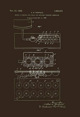 Machinery Drawing - Method Of Making Golf Balls Patent 1928 by Mountain Dreams