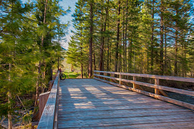 Methow Valley Community Trail At Wolf Creek Bridge Art Print by Omaste Witkowski
