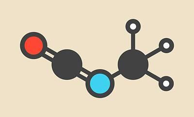 Methyl Isocyanate Toxic Molecule Art Print by Molekuul