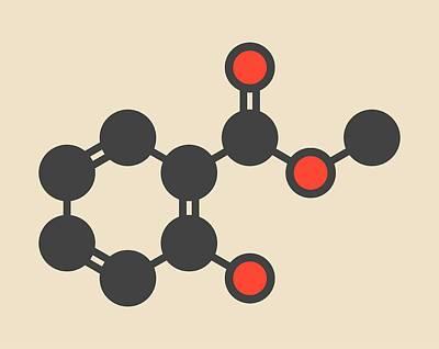 Methyl Salicylate Molecule Art Print by Molekuul