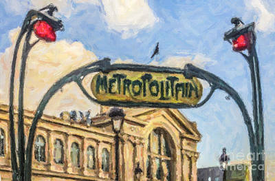 Digital Art - Metro Gare Du Nord by Liz Leyden