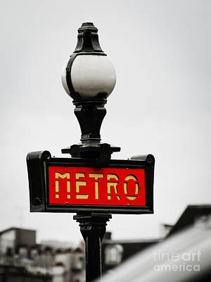 Photograph - Metro Sign In Paris by MaryJane Armstrong