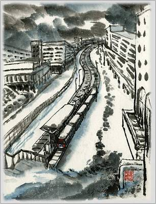 Art Print featuring the painting Metro Train At Central Wester-end by Ping Yan