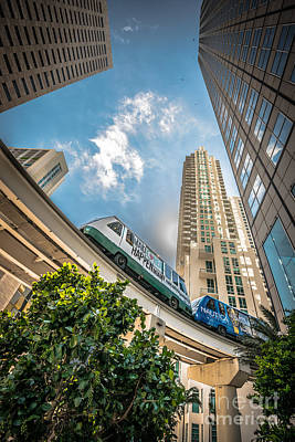 Color Block Photograph - Metromover Working In Downtown Miami - Hdr Style by Ian Monk