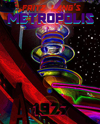 Painting - Metropolis 1927 Movie Poster Style B by David Lee Thompson