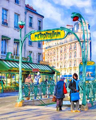 Photograph - Metropolitain - Parisian Subway Street Scene by Mark Tisdale