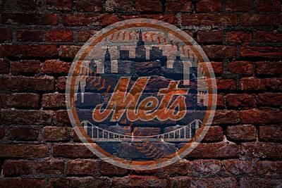 Mets Baseball Graffiti On Brick  Art Print by Movie Poster Prints