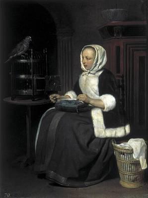 Metsu, Gabriel 1629-1667. Young Girl Art Print