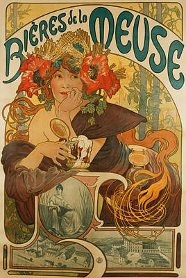 Advertisements Drawing - Meuse Beer by Alphonse Marie Mucha