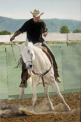 Wildlife Genre Painting - Mexican American Cowboy by Art Carrillo