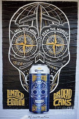 Photograph - Mexican Beer Poster Blue by John  Mitchell