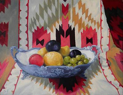 Painting - Mexican Blanket With Fruit Bowl by Sharon Casavant