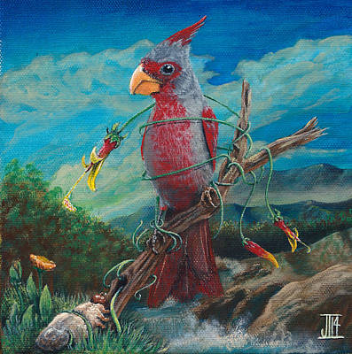 Bob Ross Painting - Mexican Cardinal by Juan Ibarra