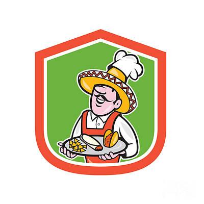 Waiter Digital Art - Mexican Chef Cook Shield Cartoon by Aloysius Patrimonio
