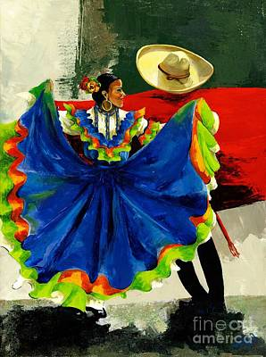 Mexican Dancers Print by Elisabeta Hermann