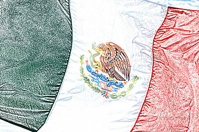 Digital Art - Mexican Flag In A Stiff Breeze Colored Pencil Digital Art by Shawn O'Brien