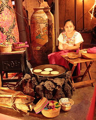 Mexican Girl Making Tortillas Art Print by Roupen  Baker