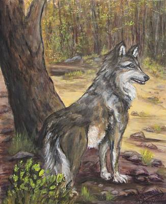 Painting - Mexican Gray Wolf by Caroline Owen-Doar