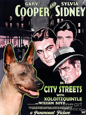 Painting - Mexican Hairless Dog - Xoloitzquintle Art Canvas Print -  City Street Movie Poster by Sandra Sij
