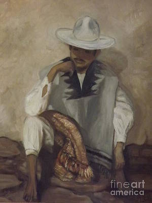 Poncho Painting - Mexican Man by Lorita Montgomery