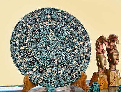 Mexican Medic Disk In Torquoise Print by Linda Phelps