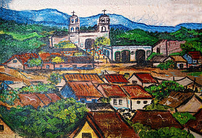 Mexican Mural Art Print by Linda Phelps