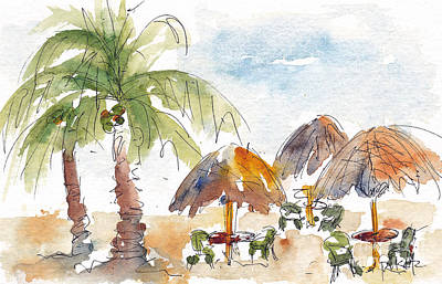 Caribbean Sea Painting - Mexican Palapas by Pat Katz