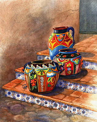 Tile Painting - Mexican Pottery Still Life by Marilyn Smith