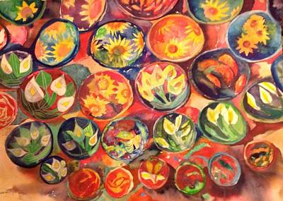 Mexican Pottery Original by Wendy Hill