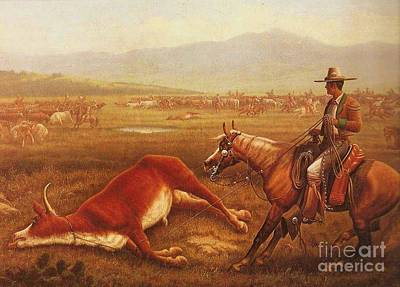 Roping Painting - Mexican Vaqueros by Pg Reproductions