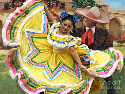 Hacienda Painting - Mexicanhatdance by Tim Gilliland