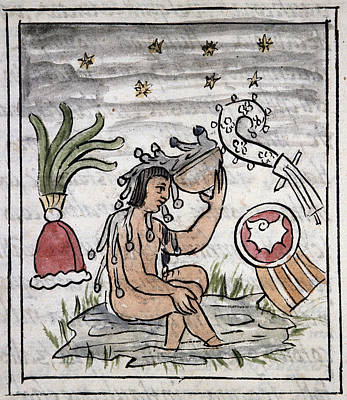 Native American Nude Drawing - Mexico Aztec Bather by Granger