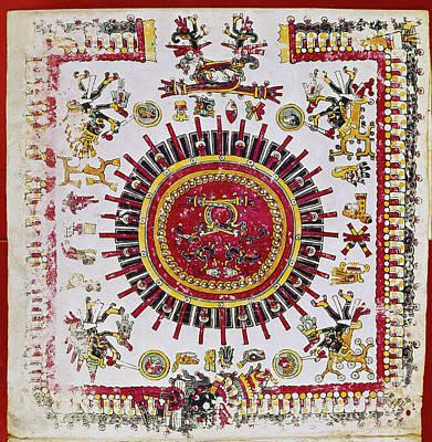 Borgia Painting - Mexico Aztec Calendar by Granger