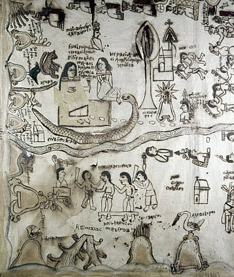 River Scenes Drawing - Mexico Aztec Drawing by Granger