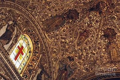 Photograph - Mexico Catholic Church Architecture - Iglesia Ceiling Oaxaca by Sharon Hudson
