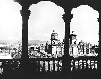 Mexico City Photograph - Mexico City Plaza by Underwood Archives