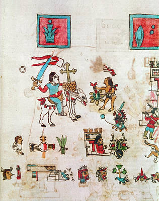 Pictograph Painting - Mexico Cortes, 1519 by Granger