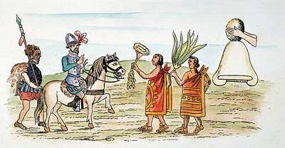 Mexico Hernando Cortes Welcomed Art Print by Granger