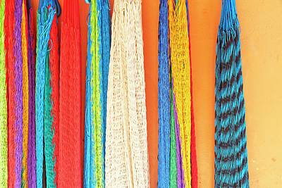 Mexico, Jalisco Colorful Hammocks Sold Art Print